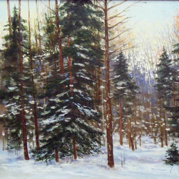 Жанр пейзаж. Картина с лесом.